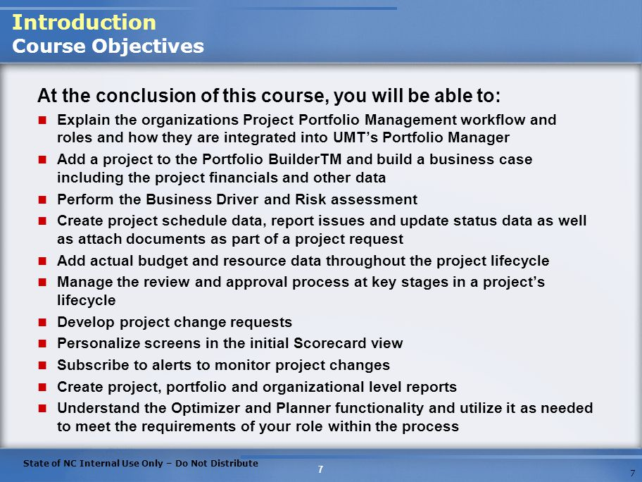 Introduction Course Objectives