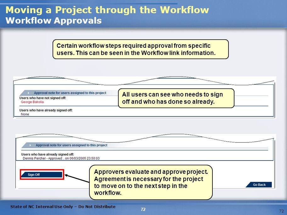 Moving a Project through the Workflow Workflow Approvals