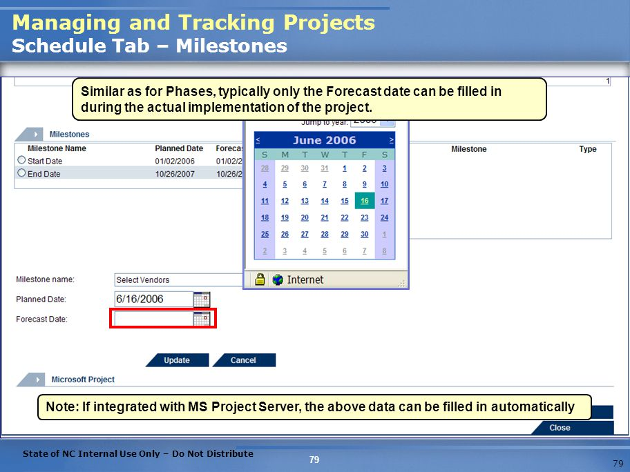 Managing and Tracking Projects Schedule Tab – Milestones