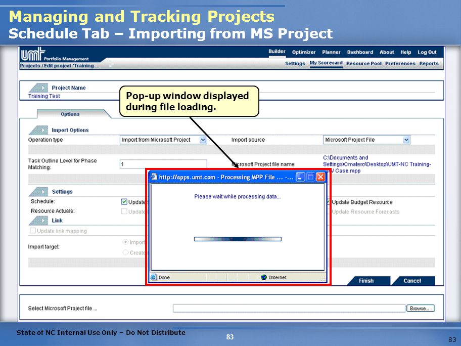 Managing and Tracking Projects Schedule Tab – Importing from MS Project