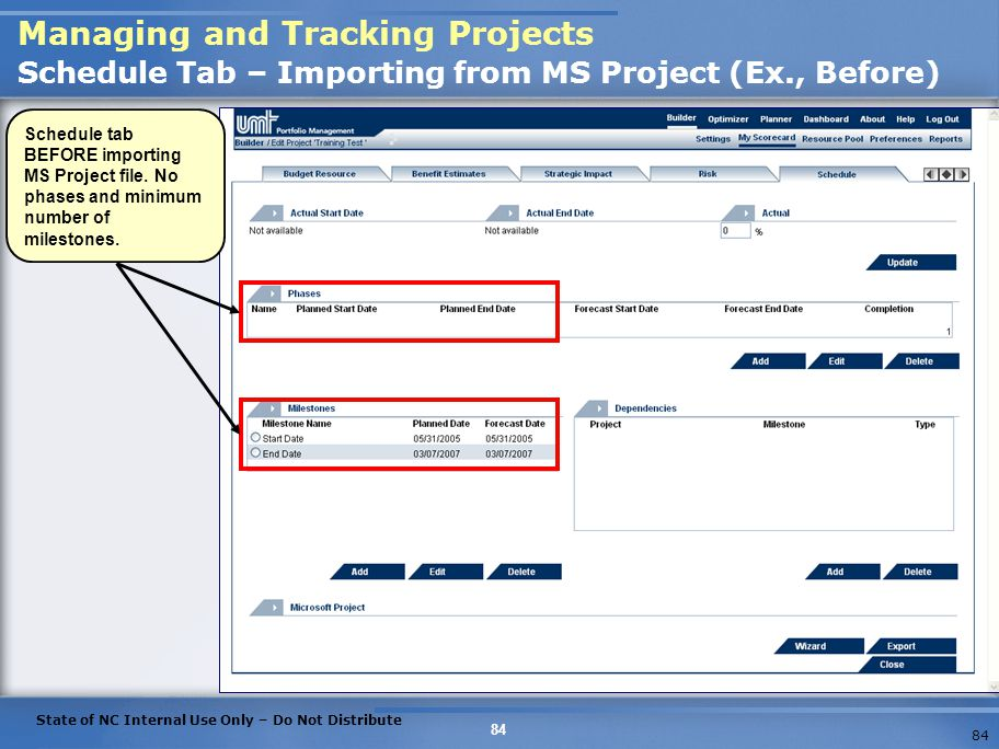 Managing and Tracking Projects Schedule Tab – Importing from MS Project (Ex., Before)