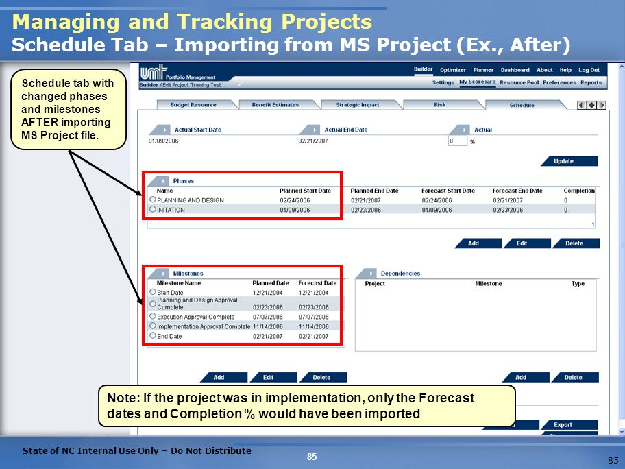 Managing and Tracking Projects Schedule Tab – Importing from MS Project (Ex., After)