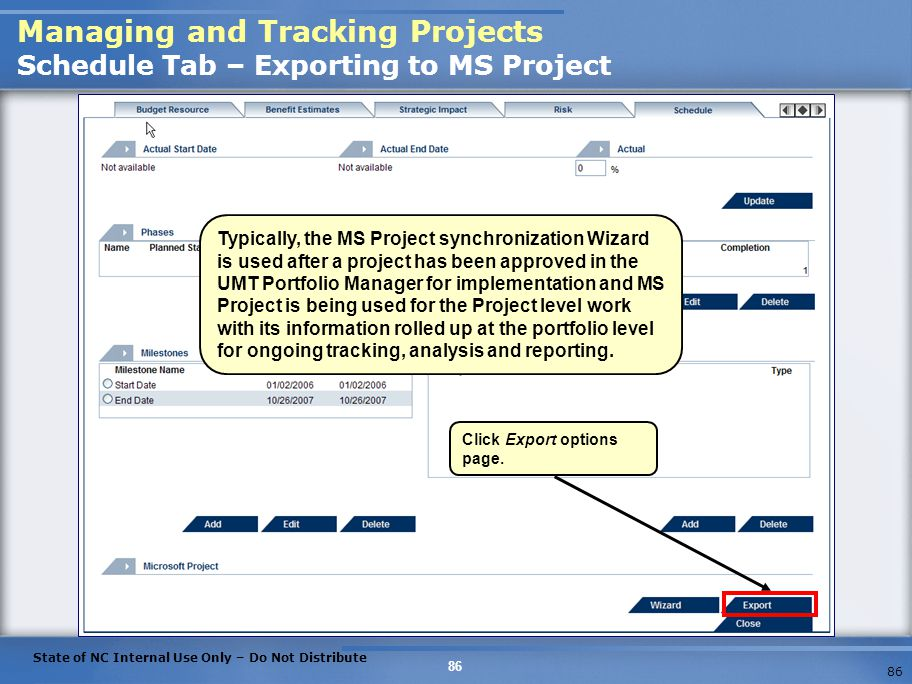 Managing and Tracking Projects Schedule Tab – Exporting to MS Project