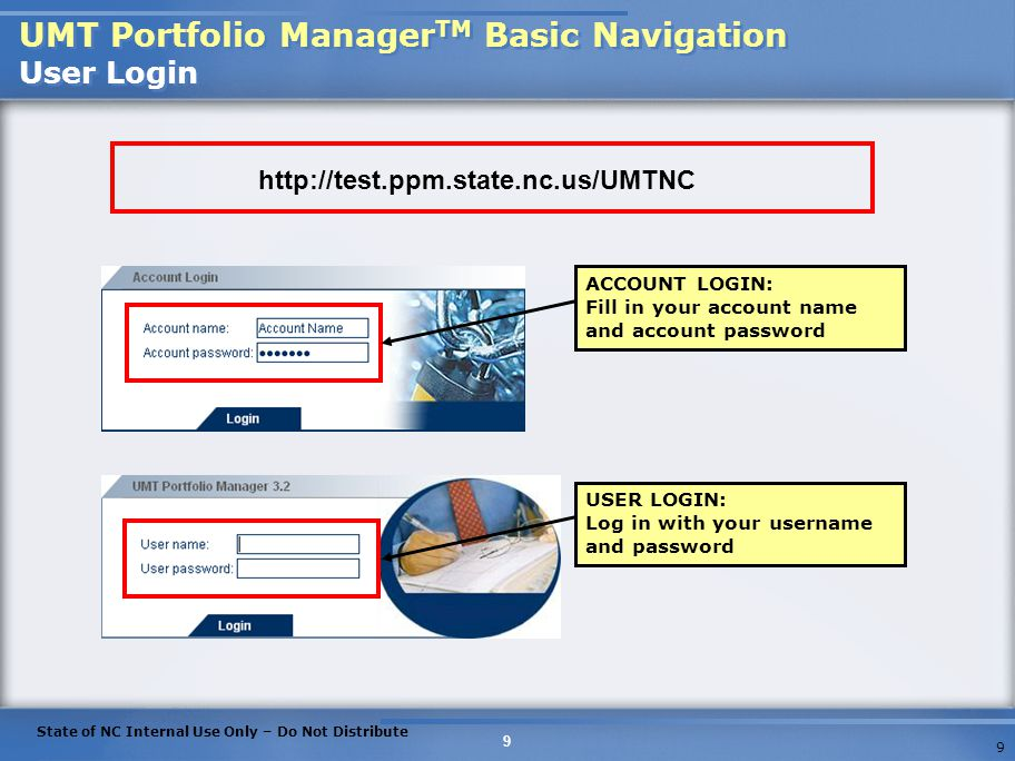 UMT Portfolio ManagerTM Basic Navigation User Login