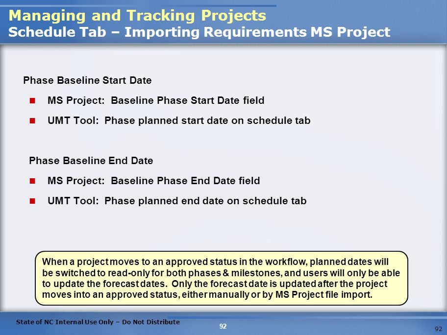 Managing and Tracking Projects Schedule Tab – Importing Requirements MS Project