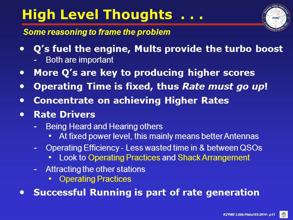 High Level Thoughts . . . Some reasoning to frame the problem. Q's fuel the engine, Mults provide the turbo boost.