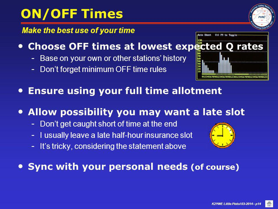 ON/OFF Times Choose OFF times at lowest expected Q rates
