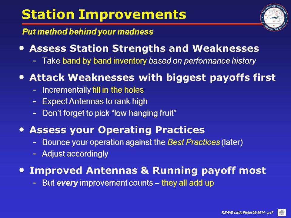 Station Improvements Assess Station Strengths and Weaknesses
