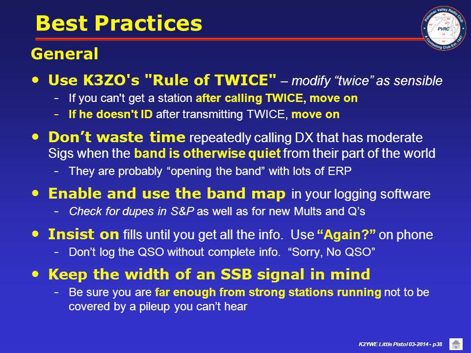 Best Practices General