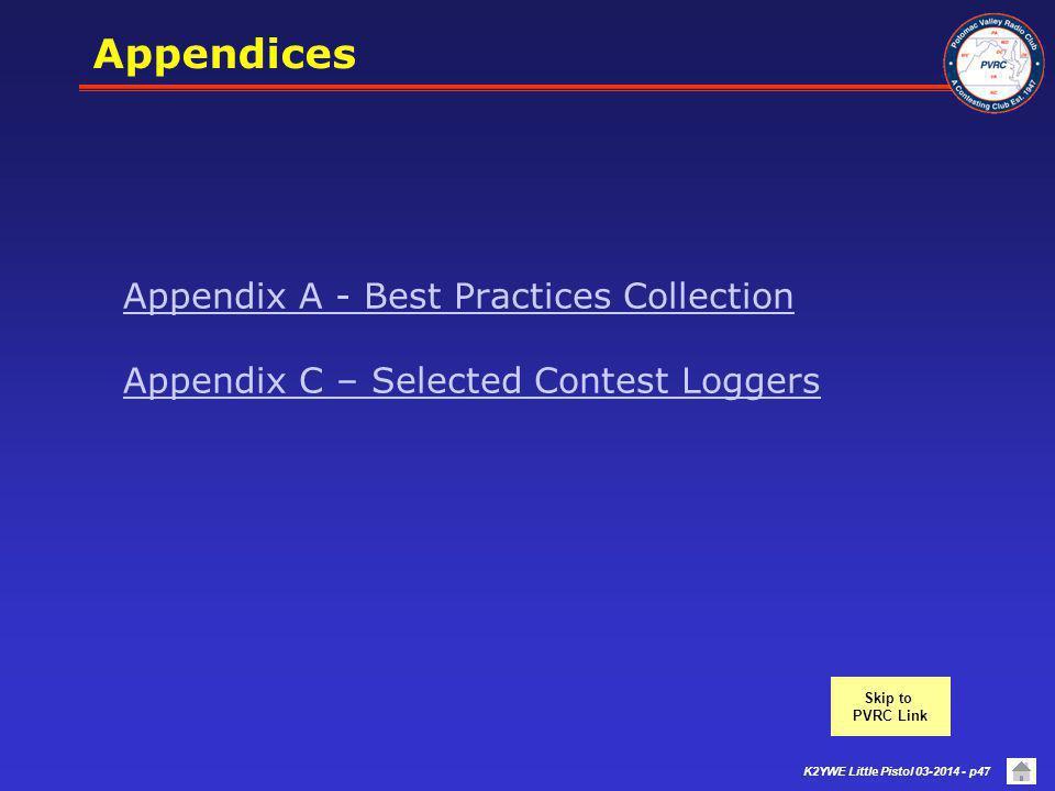 Appendices Appendix A - Best Practices Collection Appendix C – Selected Contest Loggers. Skip to.