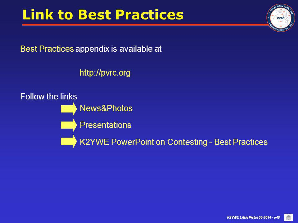 Link to Best Practices Best Practices appendix is available at