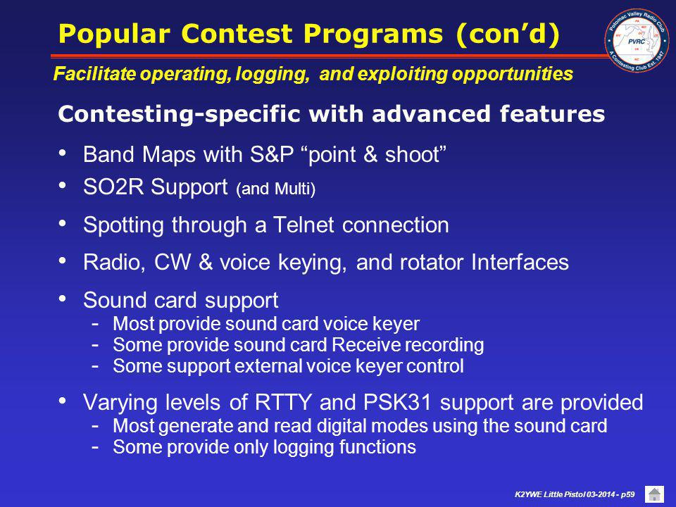 Popular Contest Programs (con'd)