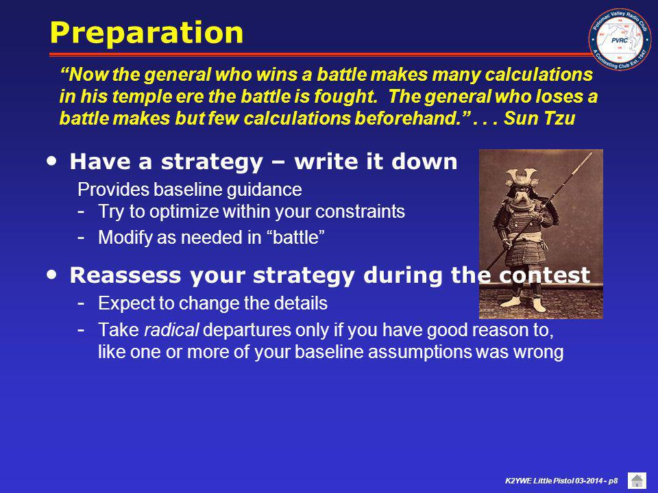 Preparation Have a strategy – write it down