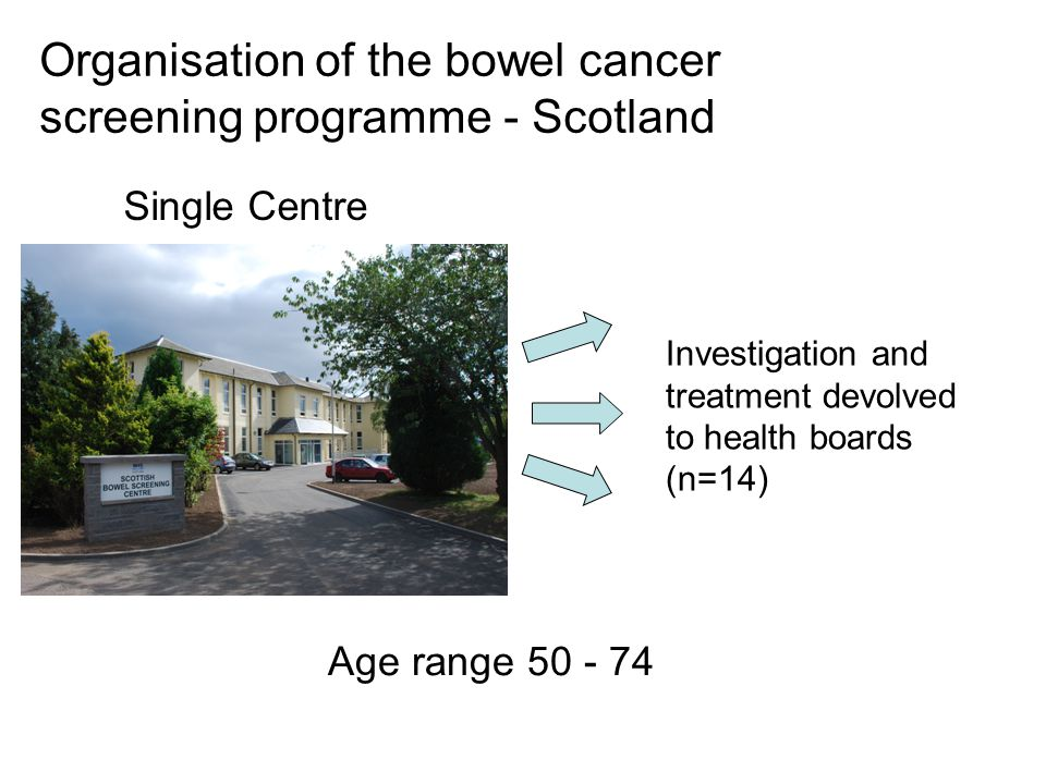 Organisation of the bowel cancer screening programme - Scotland