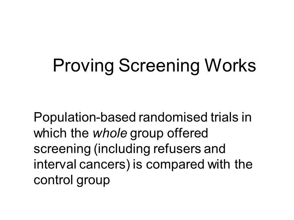 Proving Screening Works