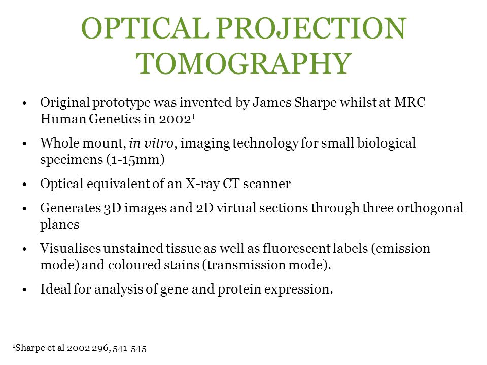 OPTICAL PROJECTION TOMOGRAPHY