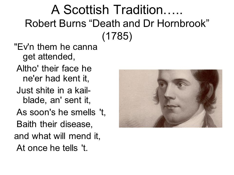 A Scottish Tradition….. Robert Burns Death and Dr Hornbrook (1785)