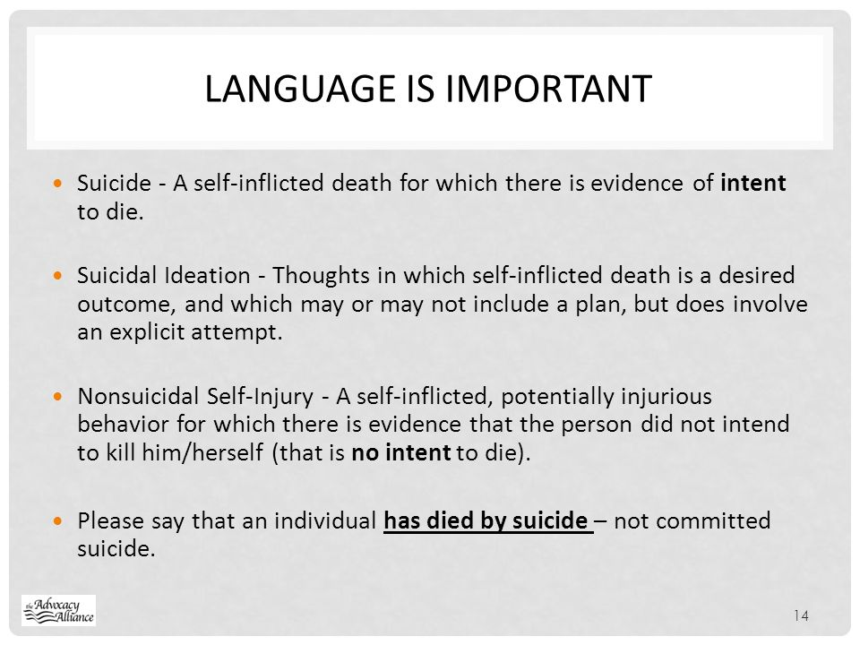 Language is Important Suicide - A self-inflicted death for which there is evidence of intent to die.