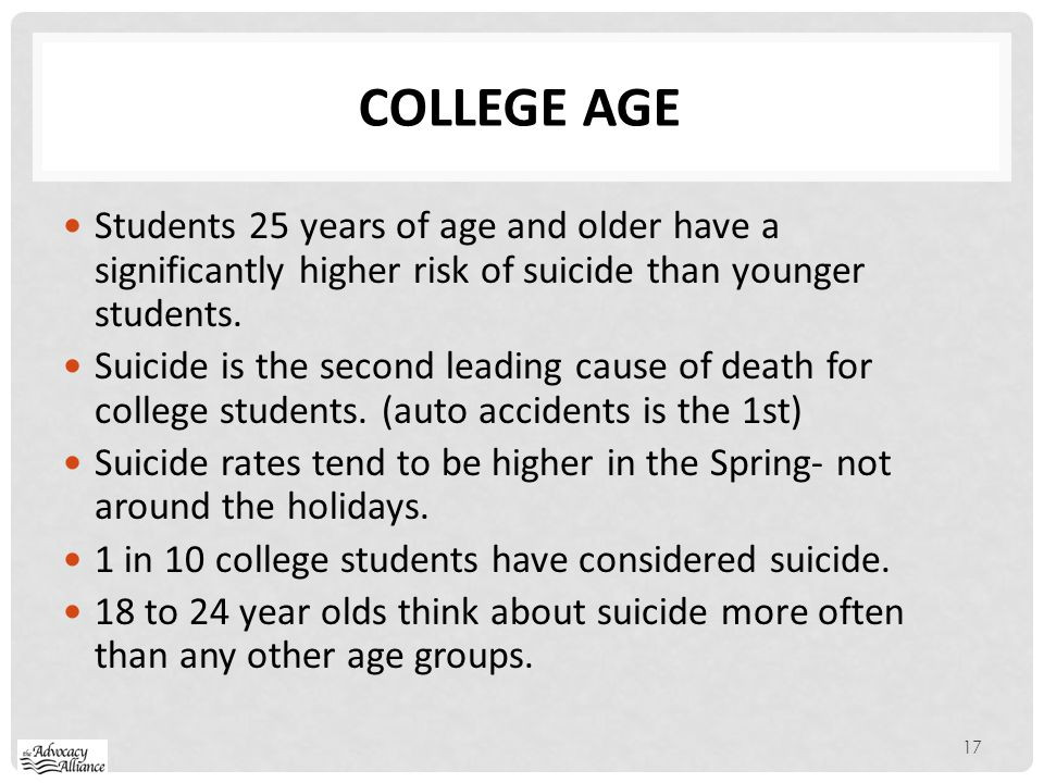 College age Students 25 years of age and older have a significantly higher risk of suicide than younger students.