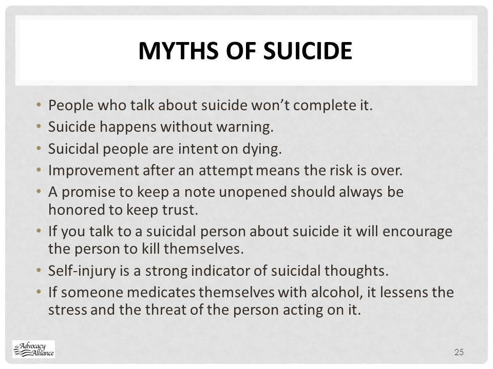 MYTHS of Suicide People who talk about suicide won't complete it.