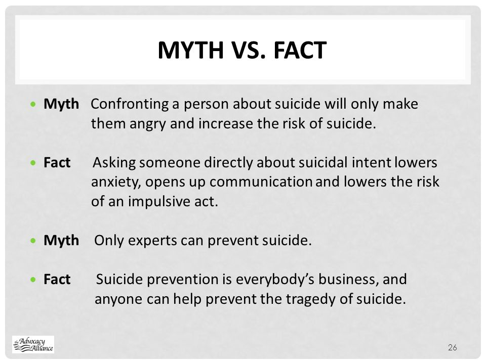 Myth vs. fact Myth Confronting a person about suicide will only make