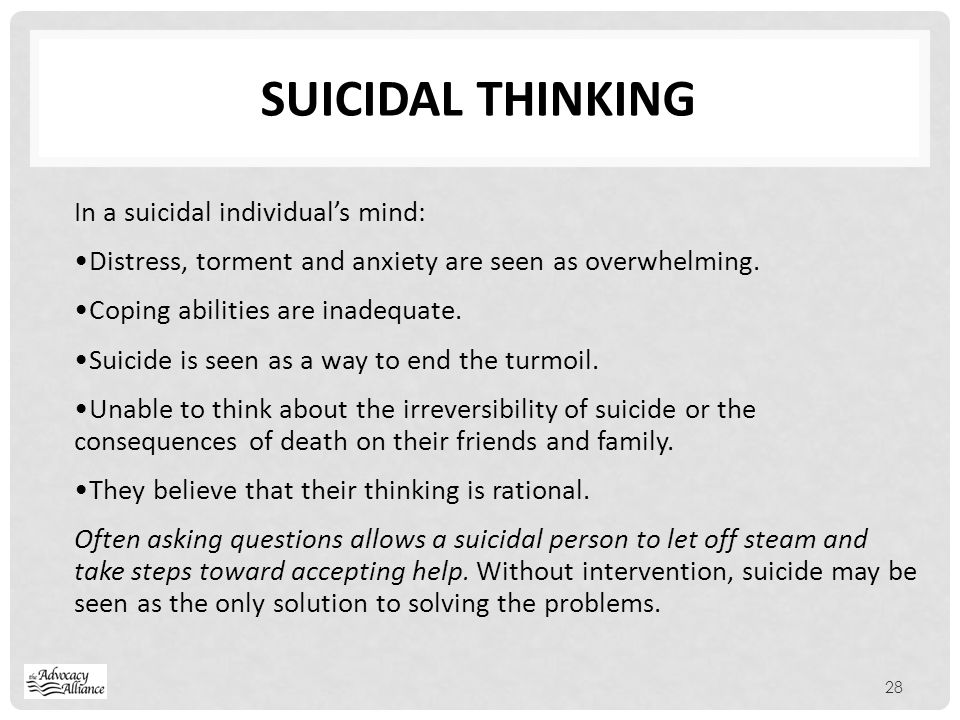 Suicidal Thinking In a suicidal individual's mind: