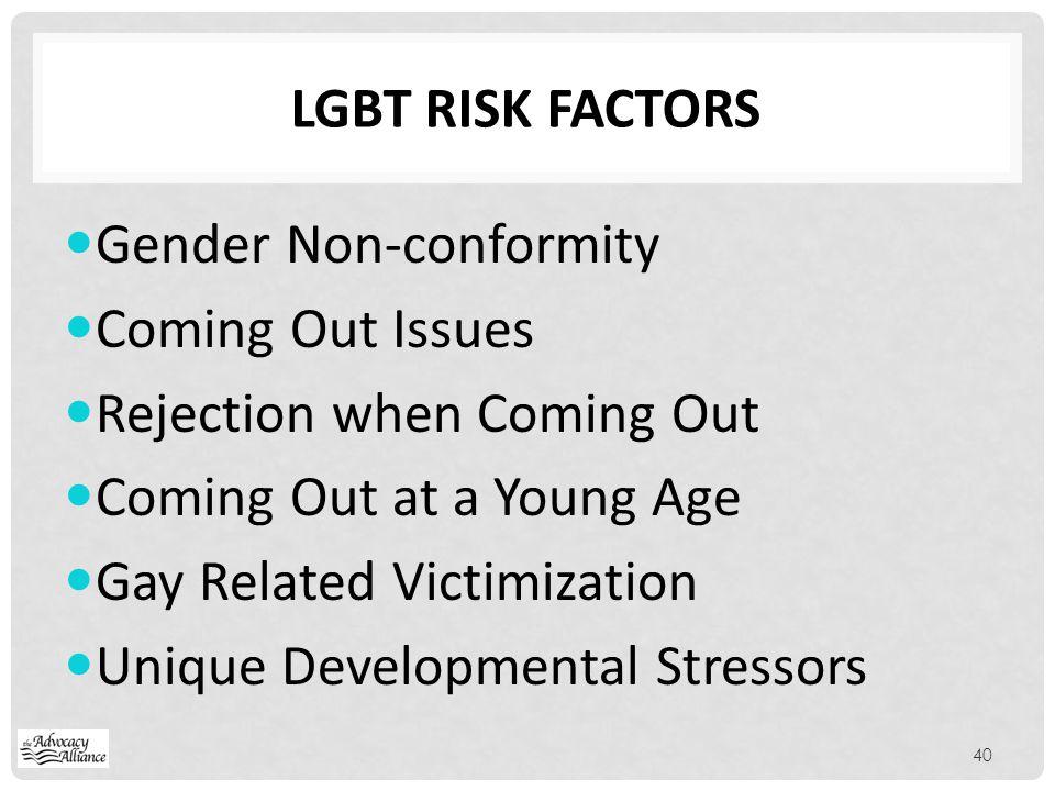 Lgbt risk factors Gender Non-conformity. Coming Out Issues. Rejection when Coming Out. Coming Out at a Young Age.