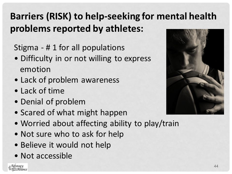 Barriers (RISK) to help-seeking for mental health problems reported by athletes: