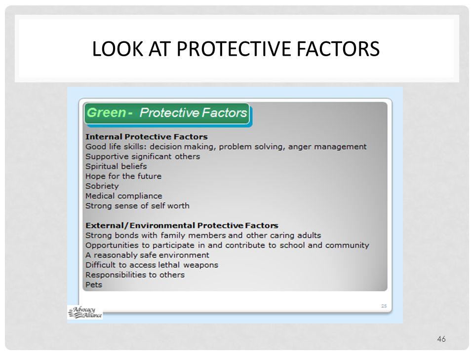 Look at protective factors