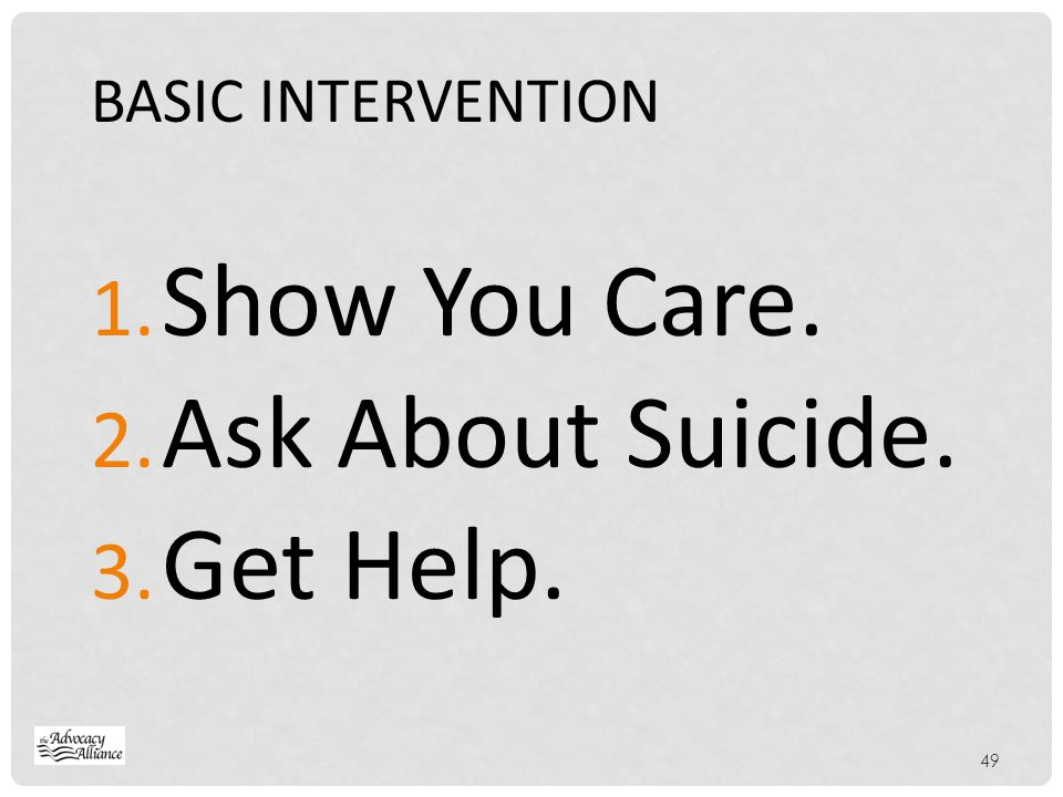 BASIC INTERVENTION Show You Care. Ask About Suicide. Get Help.