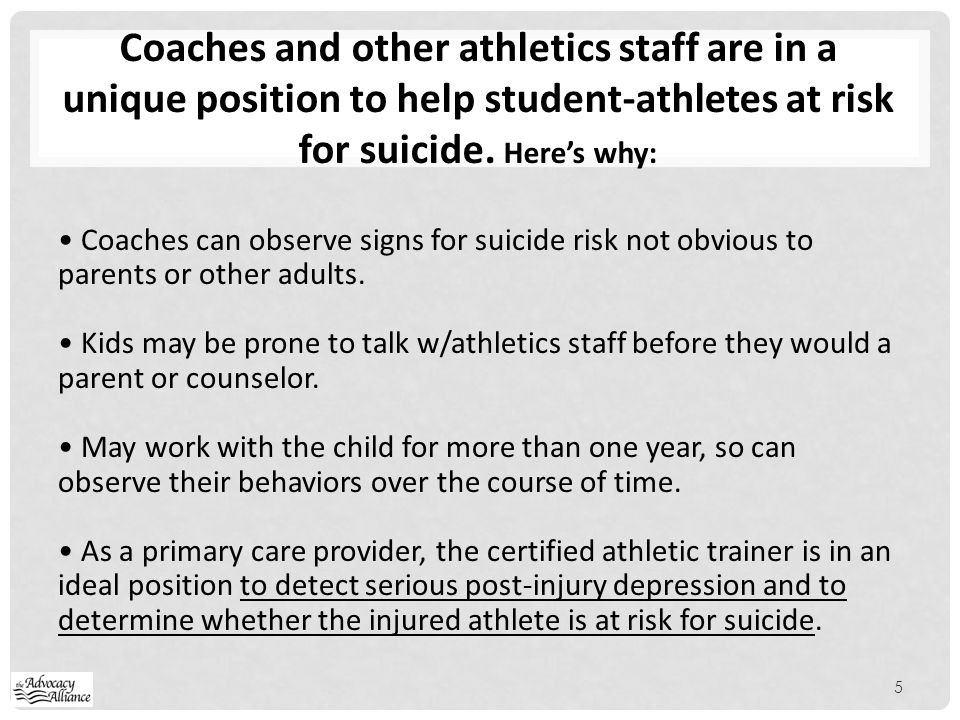 Coaches and other athletics staff are in a unique position to help student-athletes at risk for suicide. Here's why: