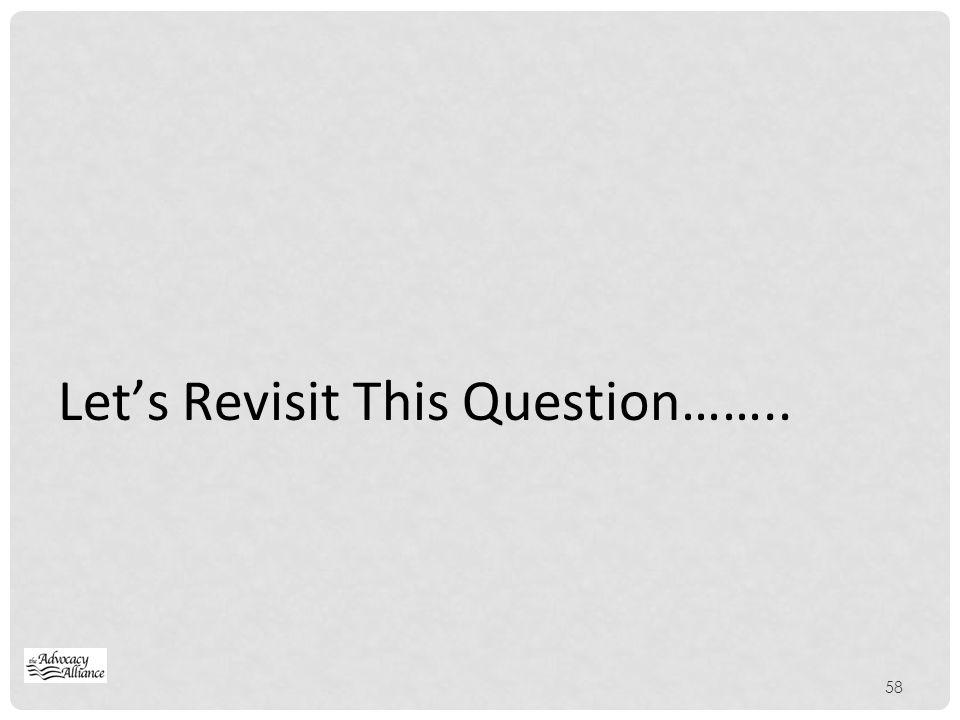 Let's Revisit This Question……..