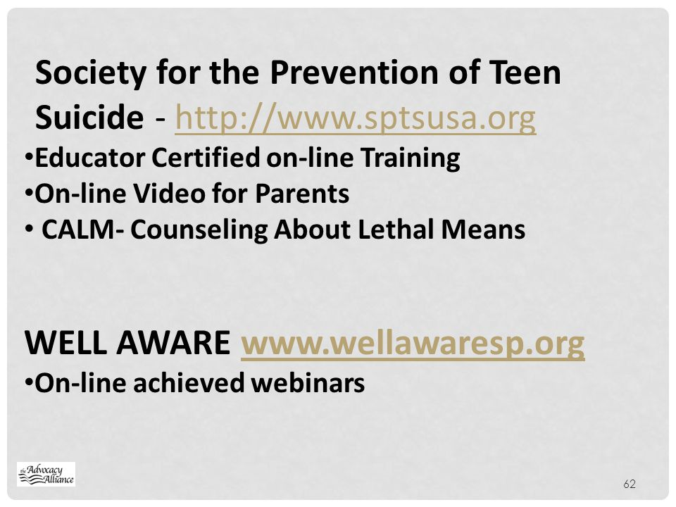 Society for the Prevention of Teen Suicide - http://www.sptsusa.org