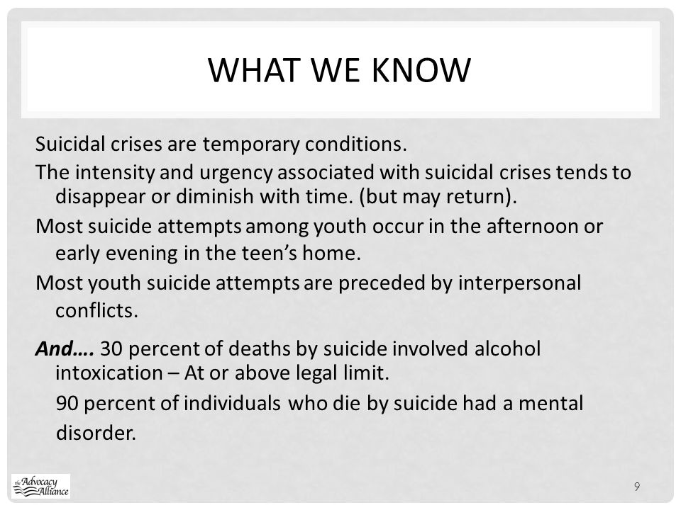 What we KNOW Suicidal crises are temporary conditions.