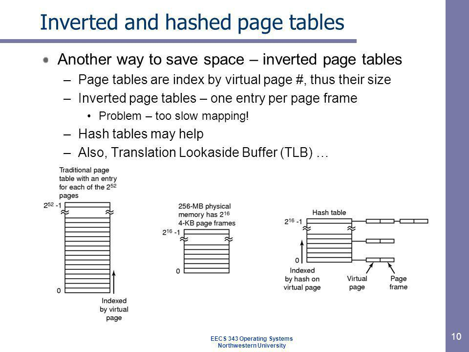 Inverted and hashed page tables