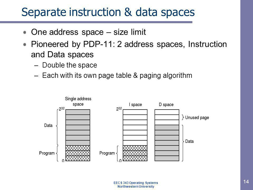 Separate instruction & data spaces