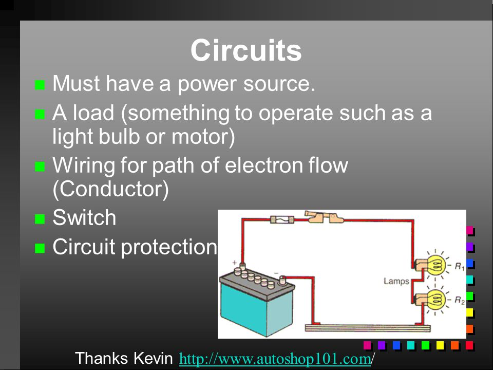Circuits Must have a power source.