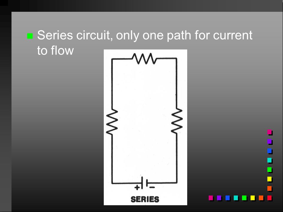 Series circuit, only one path for current to flow