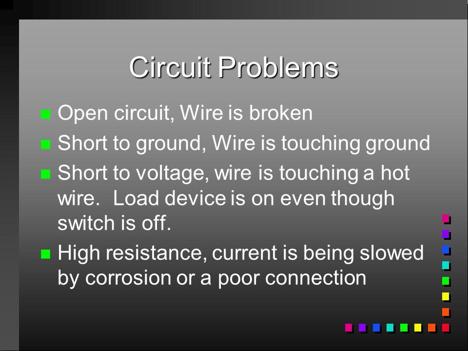 Circuit Problems Open circuit, Wire is broken