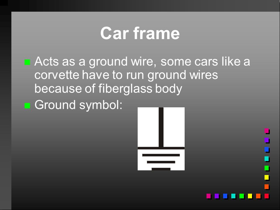Car frame Acts as a ground wire, some cars like a corvette have to run ground wires because of fiberglass body.