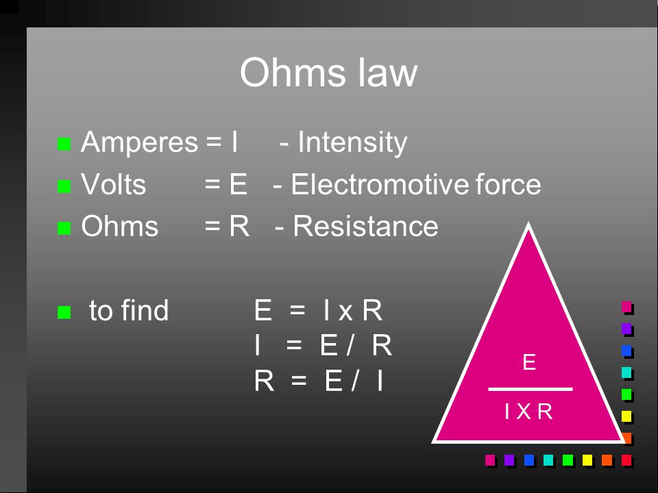 Ohms law Amperes = I - Intensity Volts = E - Electromotive force