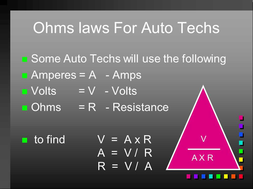 Ohms laws For Auto Techs