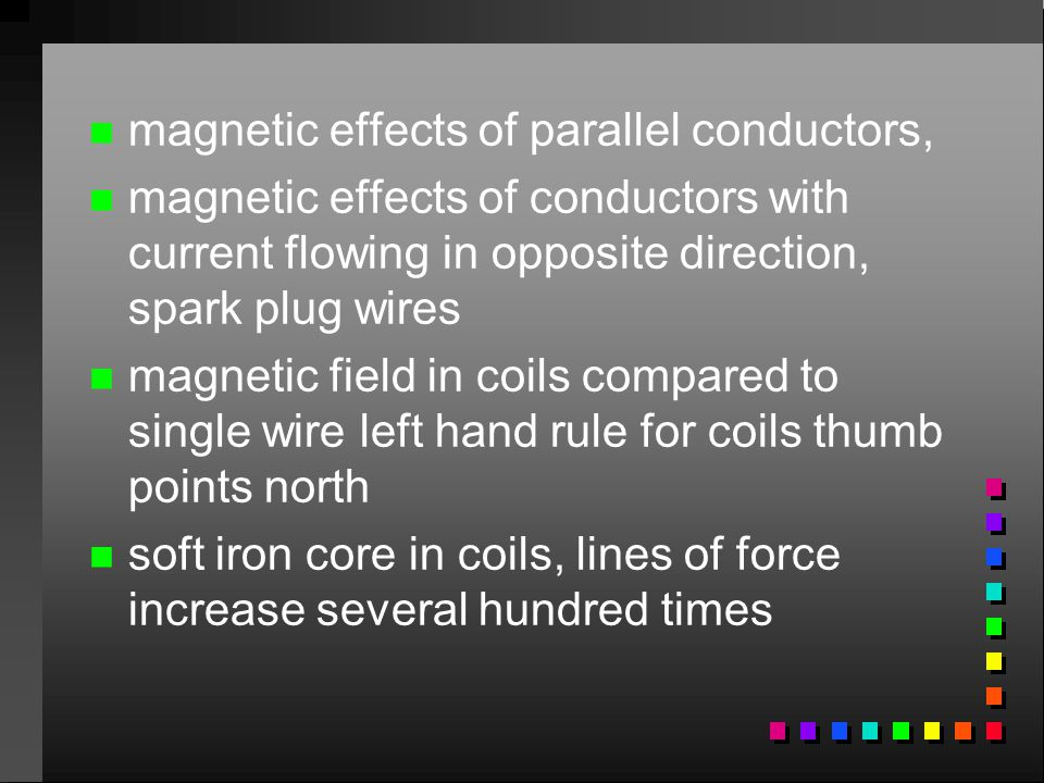 magnetic effects of parallel conductors,