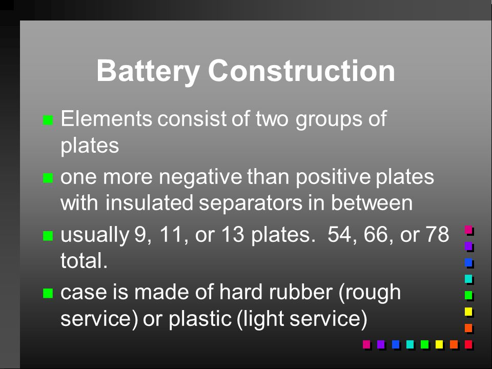 Battery Construction Elements consist of two groups of plates