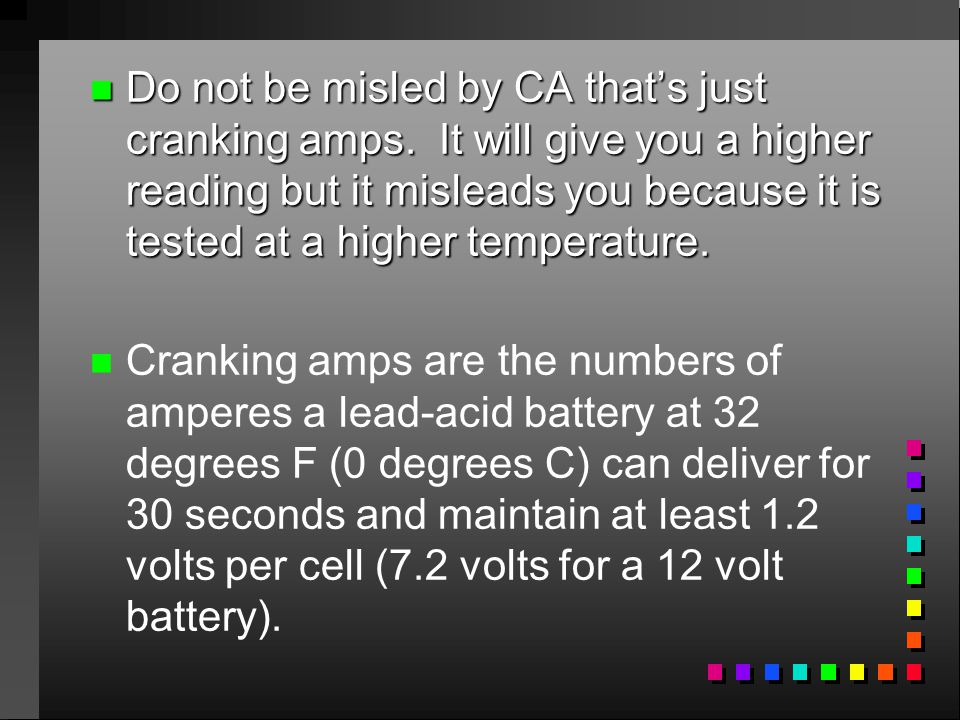 Do not be misled by CA that's just cranking amps
