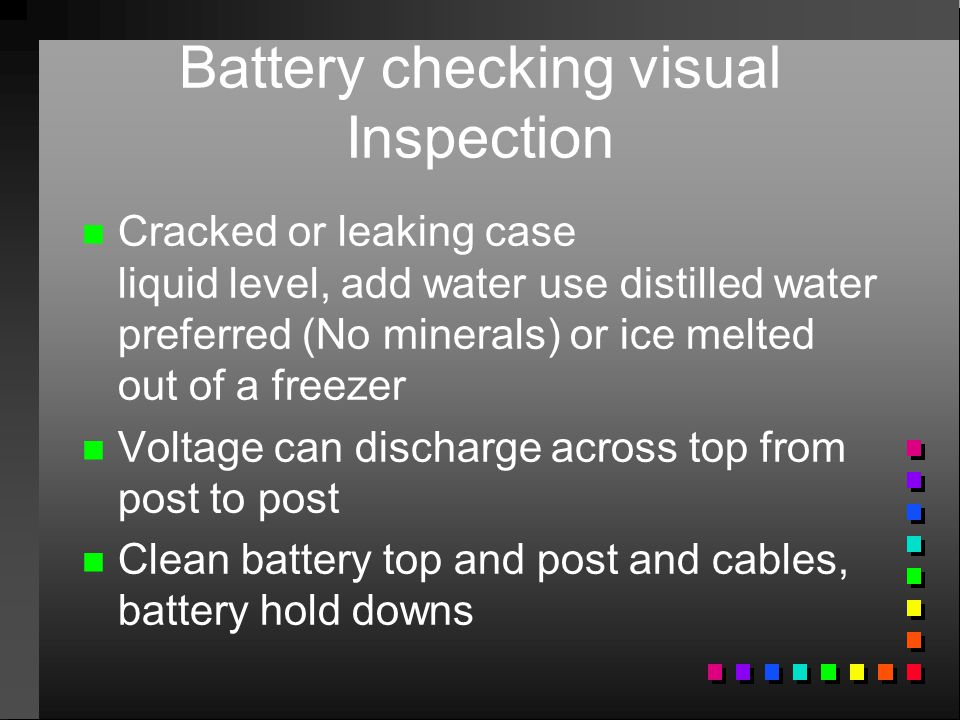 Battery checking visual Inspection