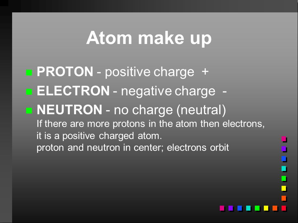 Atom make up PROTON - positive charge + ELECTRON - negative charge -