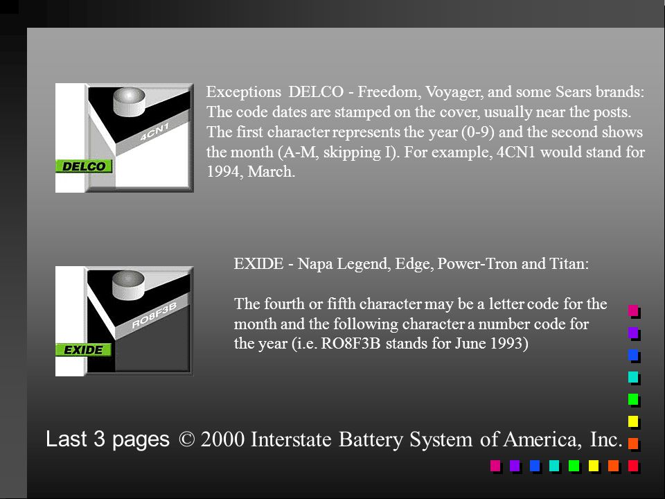 Last 3 pages © 2000 Interstate Battery System of America, Inc.