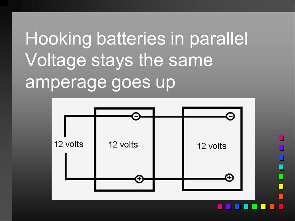 Hooking batteries in parallel Voltage stays the same amperage goes up