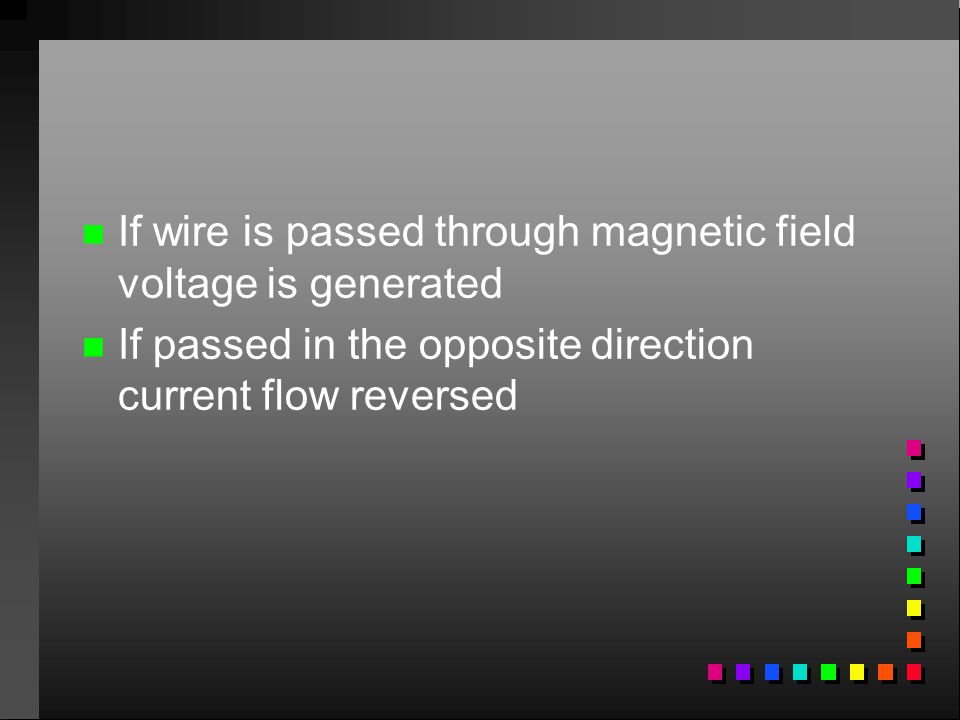 If wire is passed through magnetic field voltage is generated